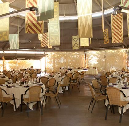 Interior view of Hunte Nairobi Pavilion displaying linen dressed tables
