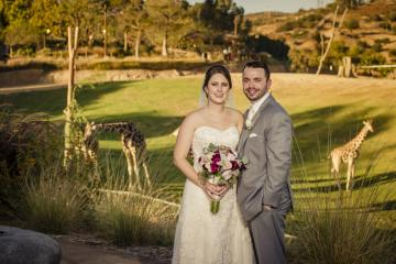 Bride and Groom with Giraffes