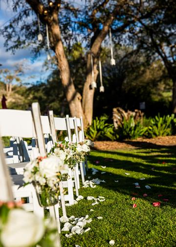Closeup of wedding guest chairs with rose petals strewn on grass