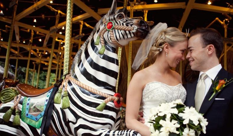bride and groom at conservation carousel