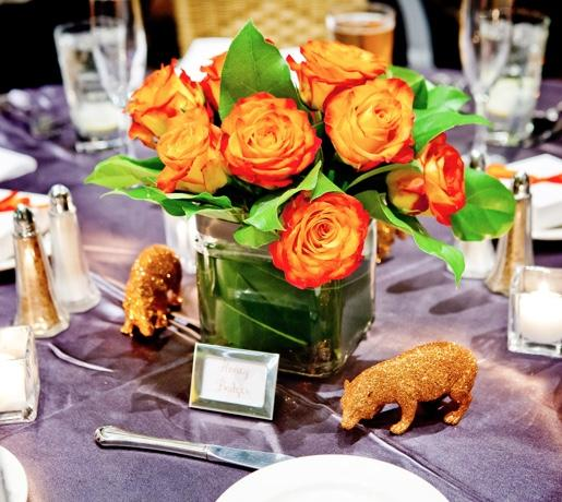 orange roses centerpiece