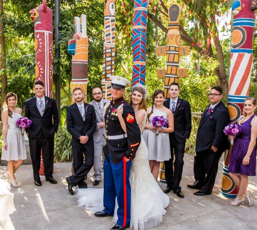 bridal party at totem poles